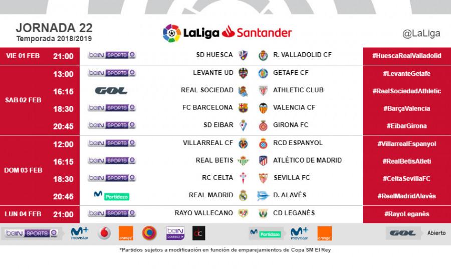 Horarios para el partido de la jornada 22 de la Liga 2018-2019 1